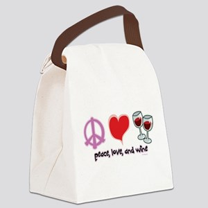 Peace-Love-Wine Canvas Lunch Bag