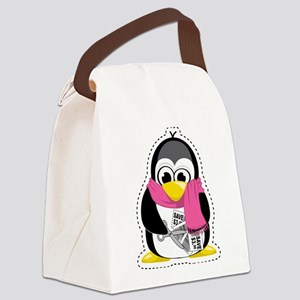 Couponing-Penguin-Scarf Canvas Lunch Bag