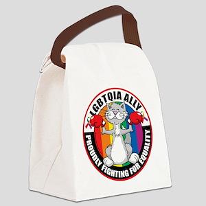 LGBTQIA-Ally-Cat Canvas Lunch Bag