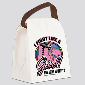 LGBT-Fight-Like-A-Girl Canvas Lunch Bag