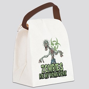 Zombies-Ate-Homework Canvas Lunch Bag