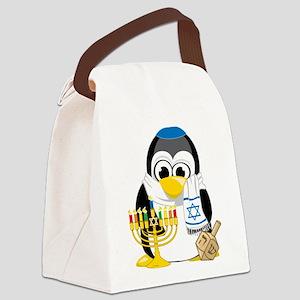 Hanukkah-Penguin-Scarf Canvas Lunch Bag