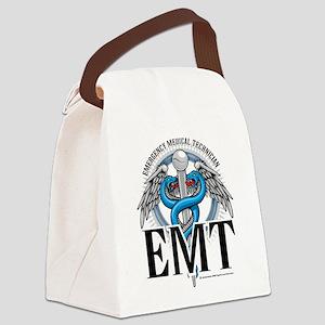 EMT-Caduceus-Blue Canvas Lunch Bag