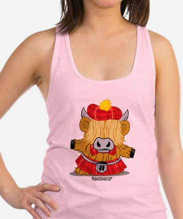 Highland-Cow-Red-Kilt-2009.png Racerback Tank Top