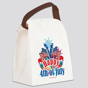 Happy-4th-of-July Canvas Lunch Bag