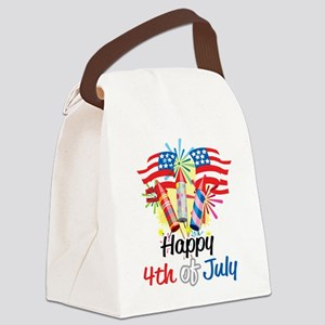 Happy-4th-Fireworks Canvas Lunch Bag
