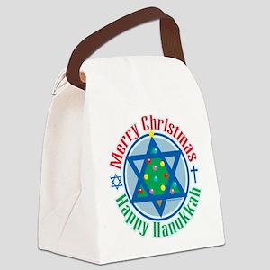 Christmas-Hanukkah Canvas Lunch Bag