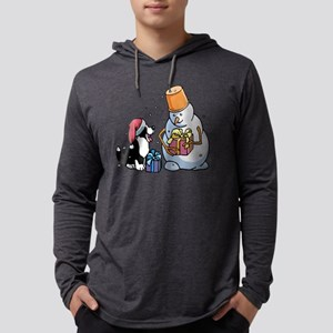 pup  Snowman sq bw Mens Hooded Shirt