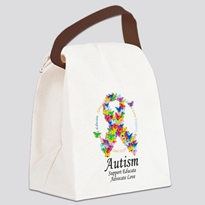 Autism-Butterfly-Ribbon Canvas Lunch Bag