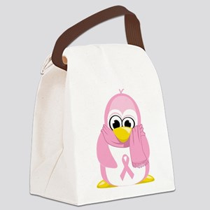 BC-Pink-Penguin Canvas Lunch Bag
