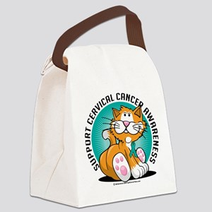 Cervical-Cancer-Cat Canvas Lunch Bag