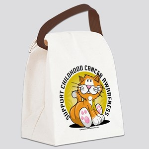 Childhood-Cancer-Cat Canvas Lunch Bag
