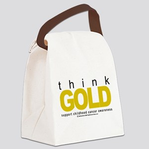 Childhood-Cancr-Think-GOLD Canvas Lunch Bag
