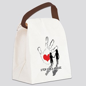 Stop Child Abuse blk Canvas Lunch Bag