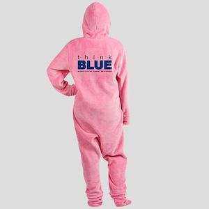 think-blue.png Footed Pajamas