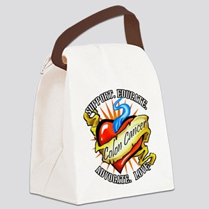 Colon Cancer Tattoo Heart Canvas Lunch Bag