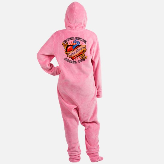 Colon Cancer Tattoo Heart Footed Pajamas