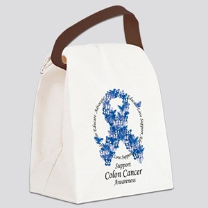 Colon-Cancer-Butterfly-Ribbon Canvas Lunch Bag