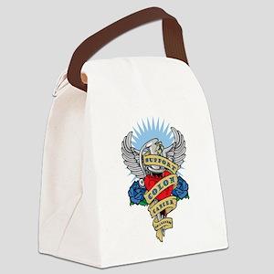 Colon Cancer Heart & Dagger Canvas Lunch Bag