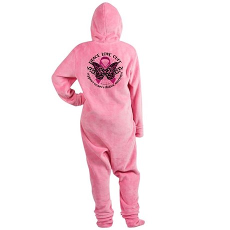 Crohns-Disease-Butterfly-Tribal.png Footed Pajamas
