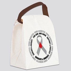 Diabetes-circle-wht Canvas Lunch Bag