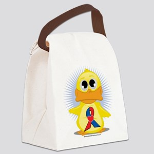 Red--Blue-w-Heart-Ribbon-Duck Canvas Lunch Bag