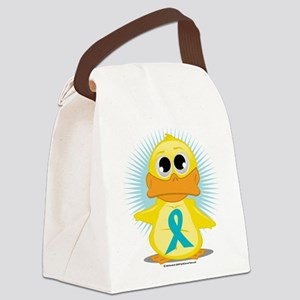 New-Teal-Ribbon-Duck Canvas Lunch Bag