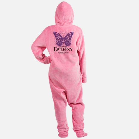 Epilepsy-Butterfly.png Footed Pajamas