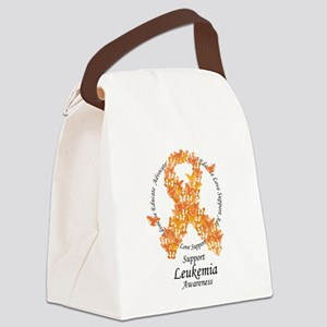 Leukemia Butterfly Ribbon Canvas Lunch Bag