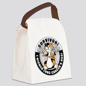 Lung-Cancer-Cat-Survivor Canvas Lunch Bag
