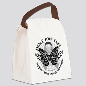 Lung-Cancer-Butterfly-Tribal Canvas Lunch Bag