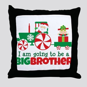 Santa Tractor Big Brother To Be Throw Pillow
