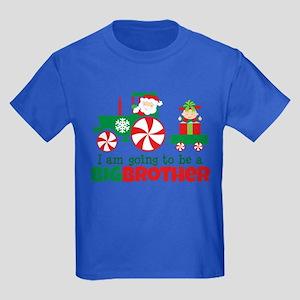 Santa Tractor Big Brother To Be Kids Dark T-Shirt