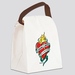 Ovarian-Cancer-Tattoo-Heart Canvas Lunch Bag
