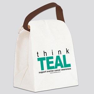 Think-TEAL-Ovarian-Cancer Canvas Lunch Bag