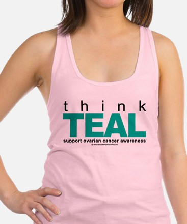 Think-TEAL-Ovarian-Cancer.png Racerback Tank Top