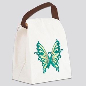 Teal-Butterfly-2009 Canvas Lunch Bag