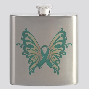 Teal-Butterfly-2009 Flask