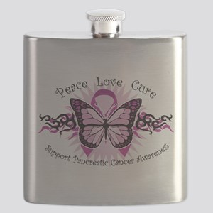 Pancreatic-Cancer-Tribal-Butterfly Flask