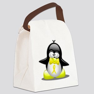 Yellow Ribbon Penguin Canvas Lunch Bag