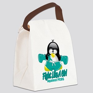 PCOS-Fighting-Penguin Canvas Lunch Bag