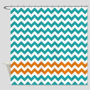 Chevron Stripes - Turquoise and Orange Shower Curt