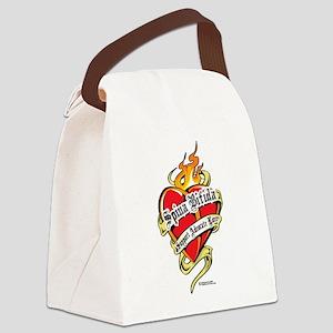 Spina-Bifida-Tattoo-Heart Canvas Lunch Bag