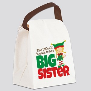 Elf going to be a Big Sister Canvas Lunch Bag