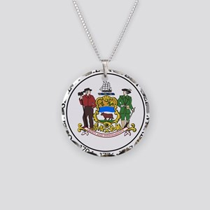 Great Seal of Delaware Necklace Circle Charm