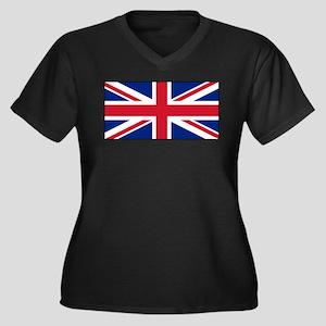 United Kingdom UK Flag Women's Plus Size V-Neck Da