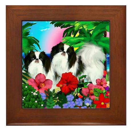 Japanese Chin Dogs Tropical Sunset Framed Tile