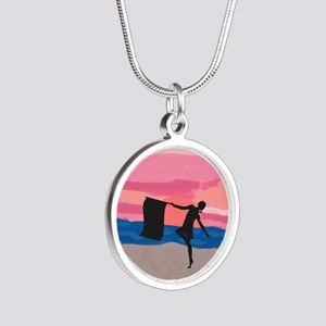 Colorguard Dancer at Sunset Silver Round Necklace