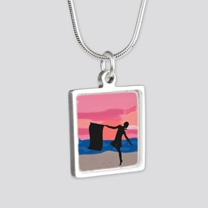 Colorguard Dancer at Sunset Silver Square Necklace