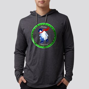 ZZZHappyHolidays-Penguin-TRANSP. Mens Hooded Shirt